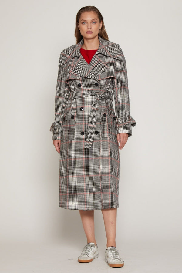Paisley Trench, Black/Red Plaid