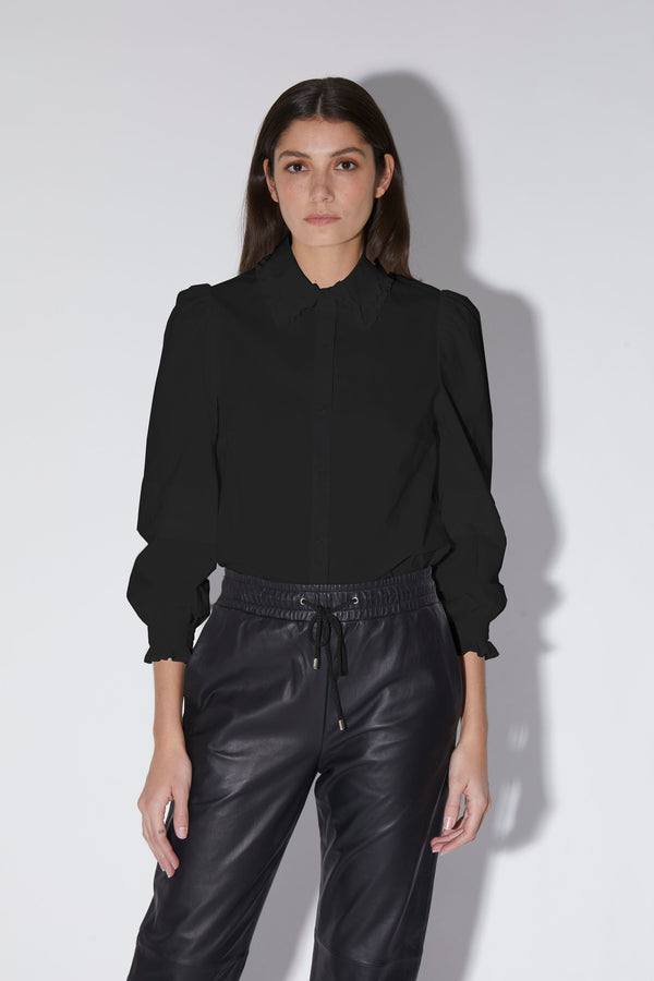 Juniper Top, Black - Cotton Poplin