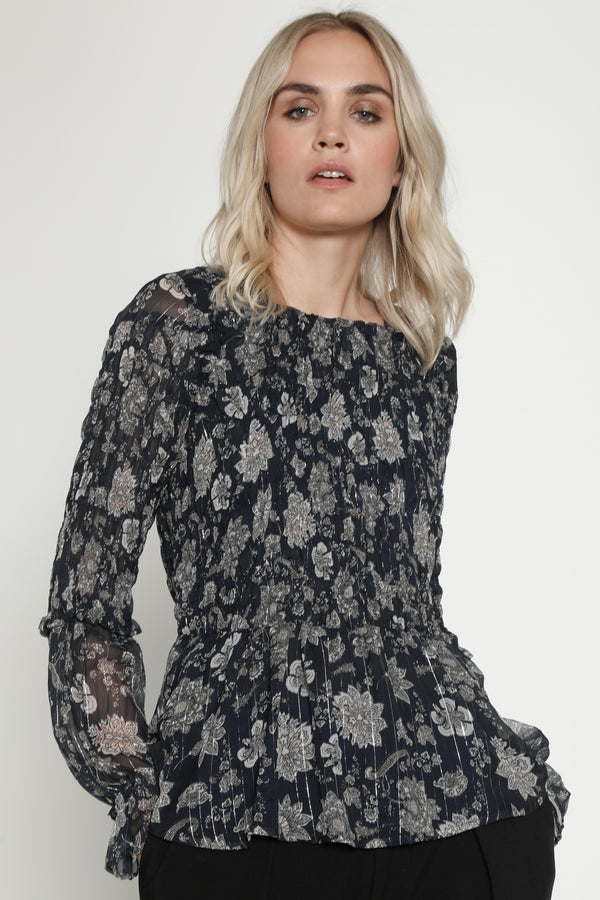 Francina Top, Navy Paisley