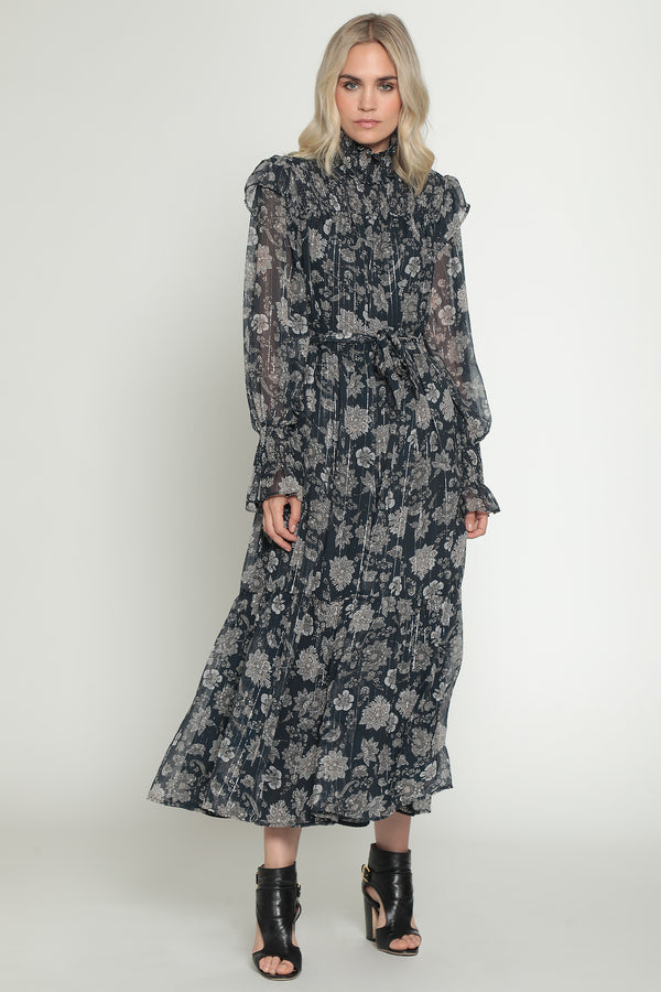 Lakendra Dress, Navy Paisley