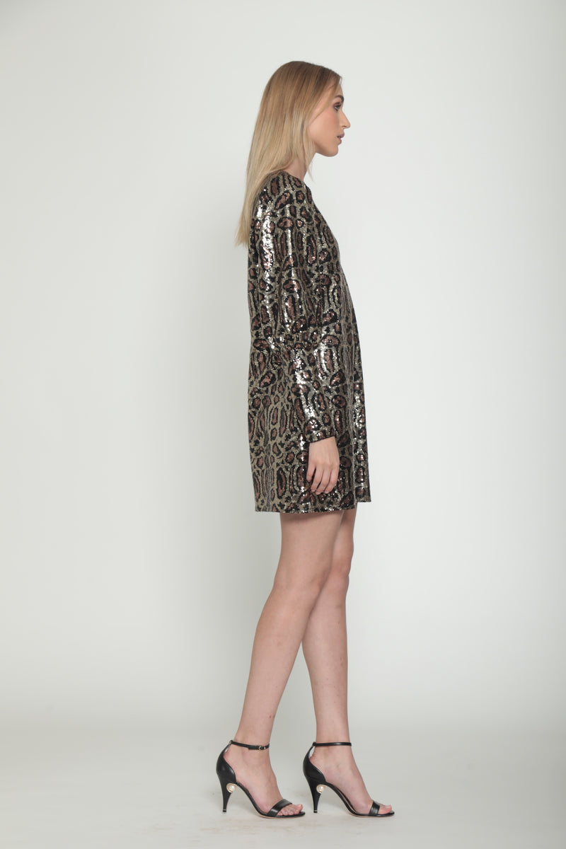 Lima Dress, Gold Leopard