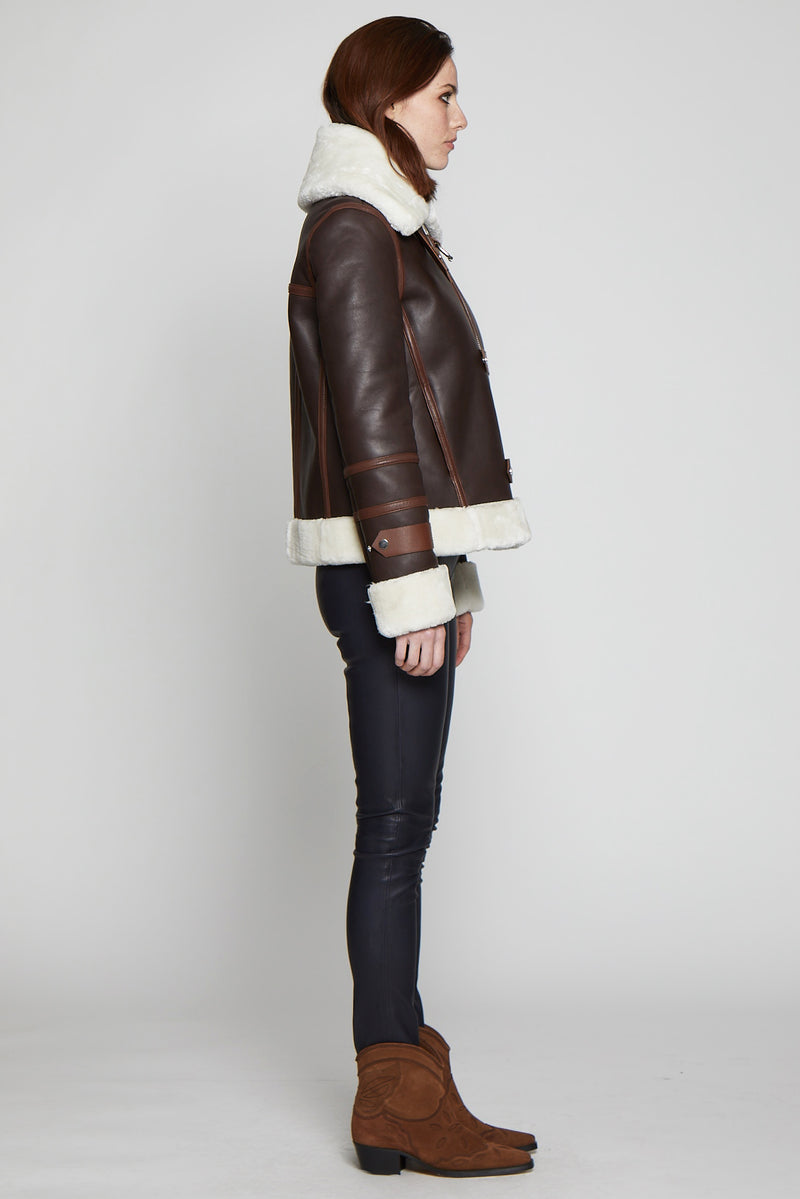 Rianna Jacket, Chocolate/Off White