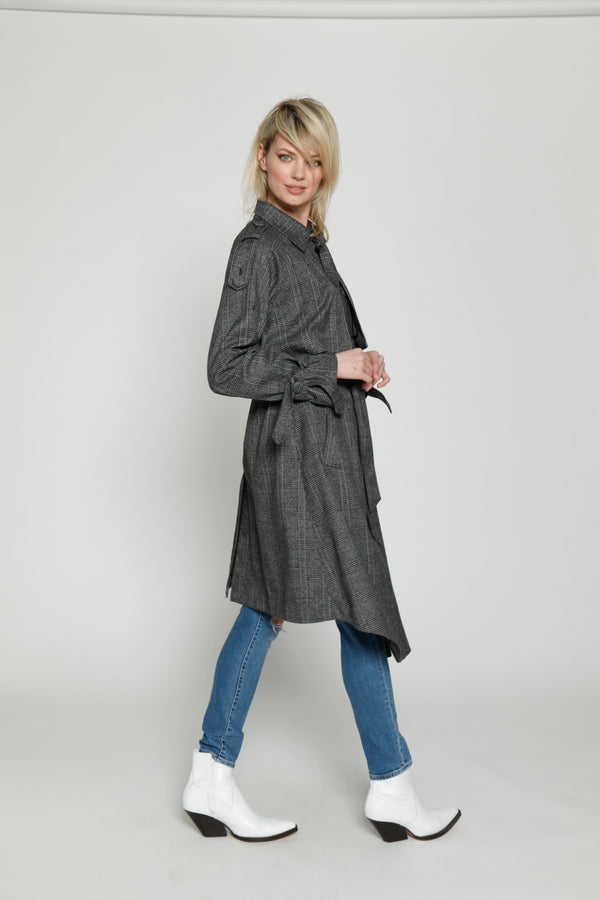 Neilson Trench, Dark Grey Plaid