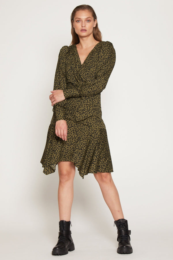 Shara Dress, Olive Abstract