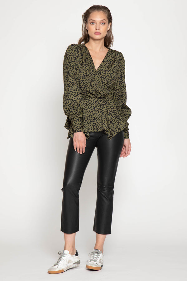 Brianna Top, Olive Abstract