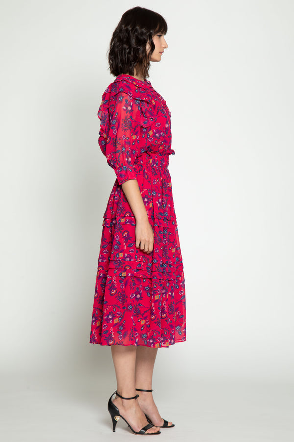 Carm Dress, Dragonfruit Floral