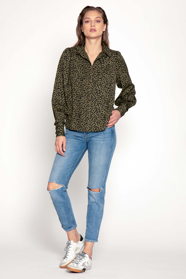 Bailey Top, Olive Abstract
