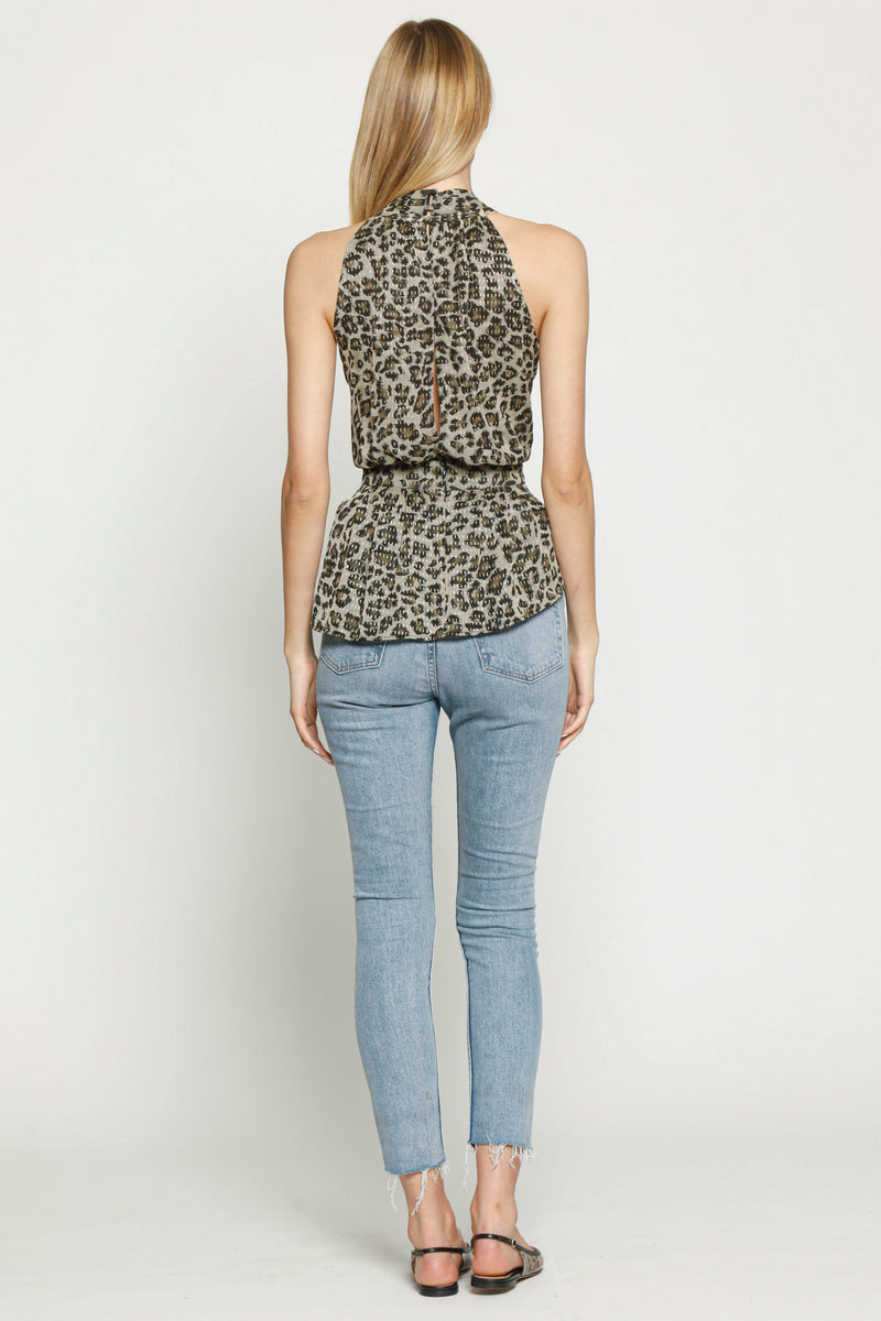 Blondie Top, Dusty Olive Leopard
