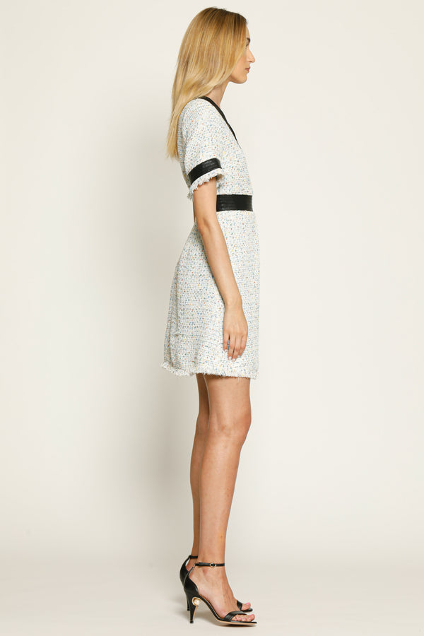 Earcna Dress, White Tweed