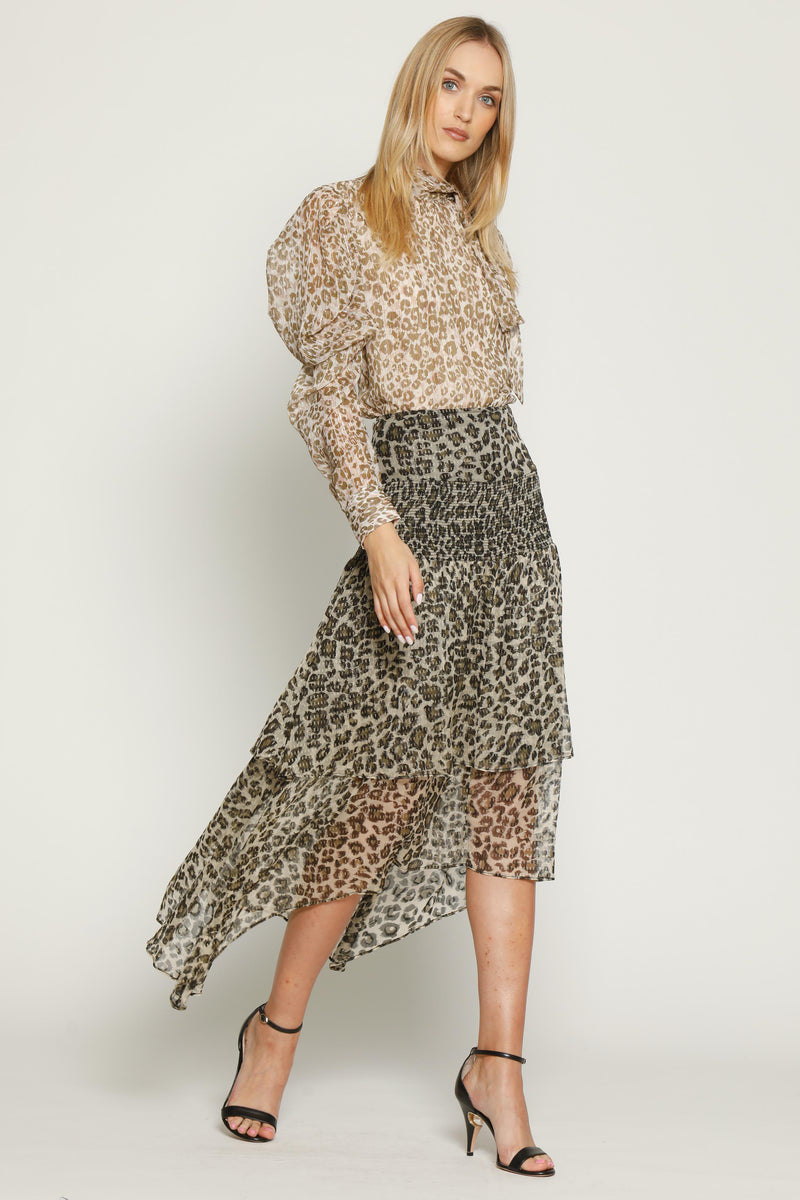 Minty Skirt, Dusty Olive Leopard