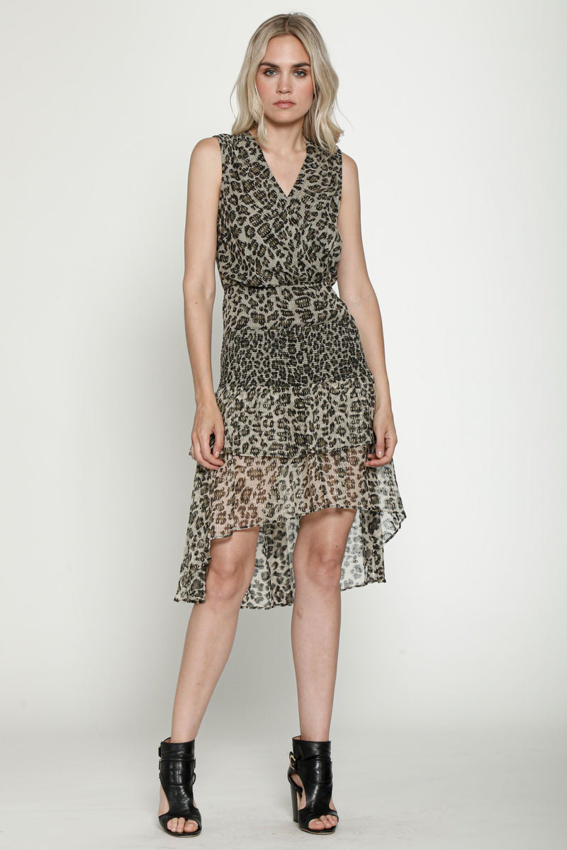Leandria Dress, Dusty Olive Leopard