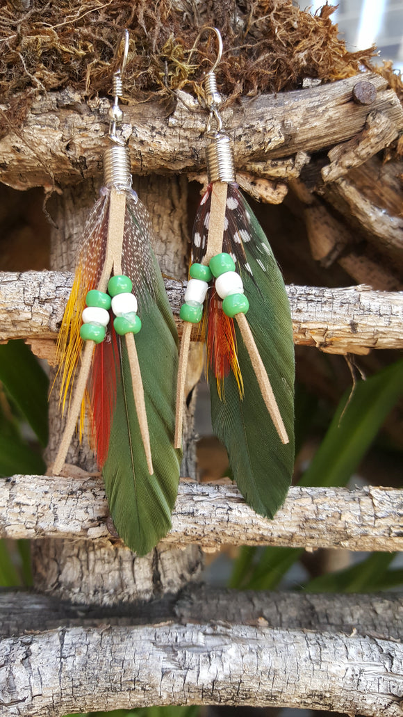Feather (Green) Earrings