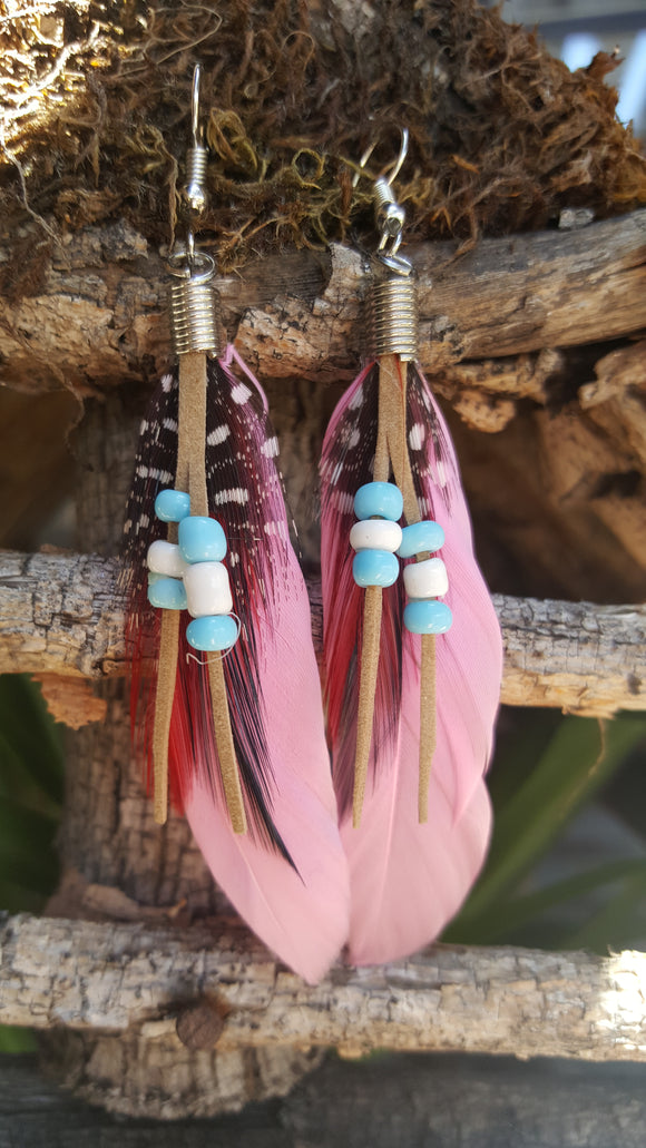 Feather (Pink) Earrings