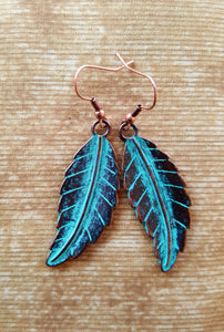Earrings - Bronze Color / Turquoise Leaf