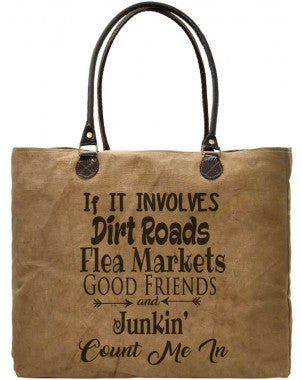 Dirt Roads Recycled Military Tents Market Tote - Vintage Addiction