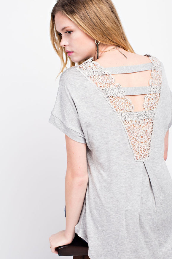 Gray Lace V-neck Back Top