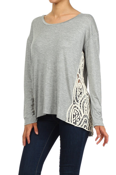 Grey Crochet Long Sleeve top