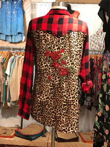 Leopard Rose Button up