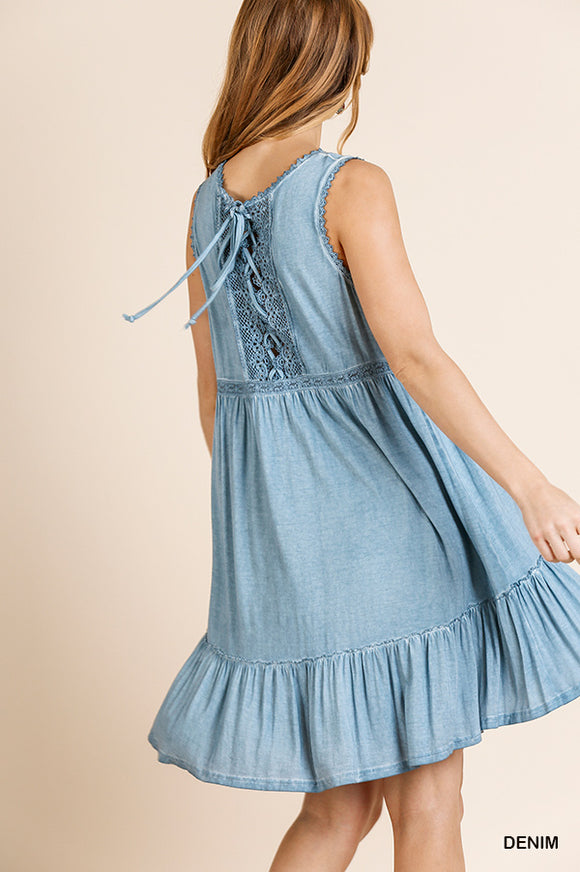 Washed Sleeveless Dress with Lace Detail and Crisscross Back