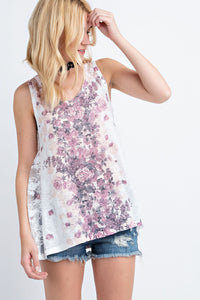 Vocal Pink White Lace Flower Tank