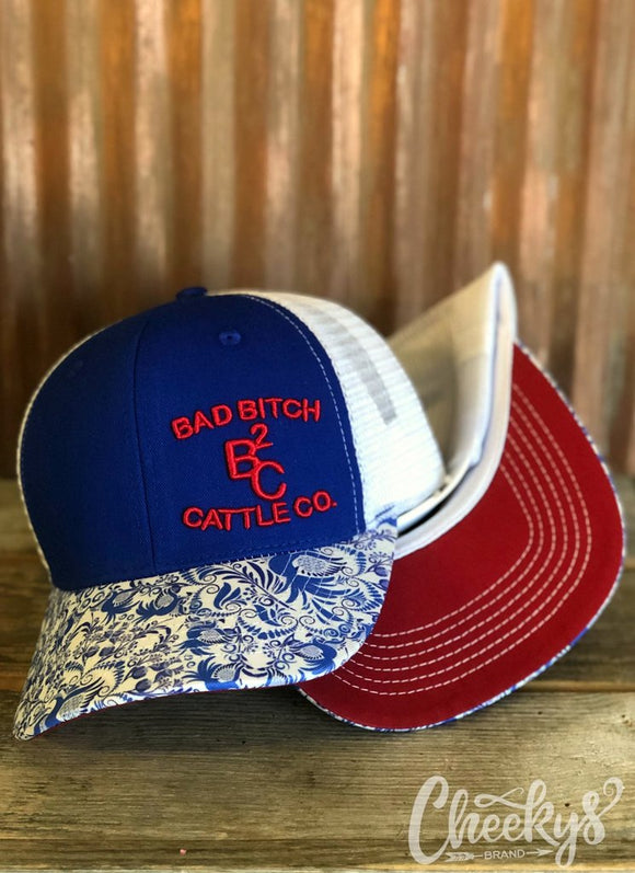 BB Cattle Co. Red, White, and Blue Paisley Cap