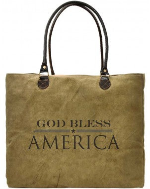 God Bless America Recycled Military Tents Market Tote - Vintage Addiction
