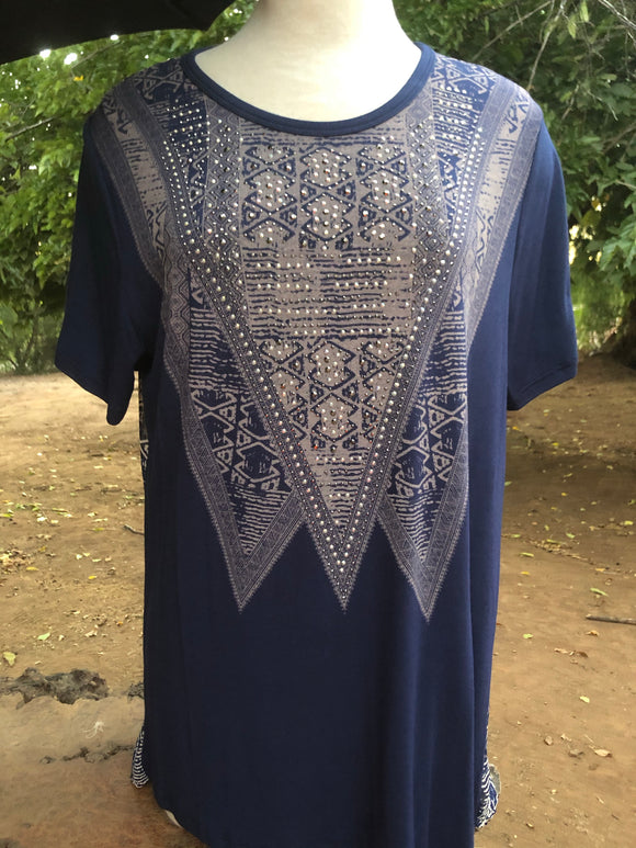 Blue Rhinestone plus size top