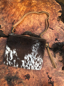 Myra White & Brown Cowhide Wristlet Bag