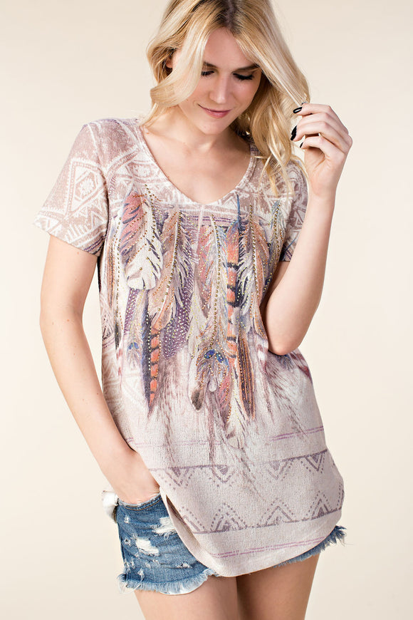 Vocal Feather Rhinestone Top