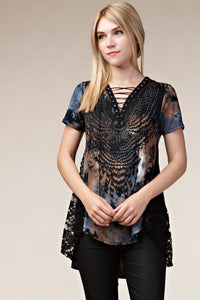Vocal Navy/ Taupe Rhinestone Lace Top