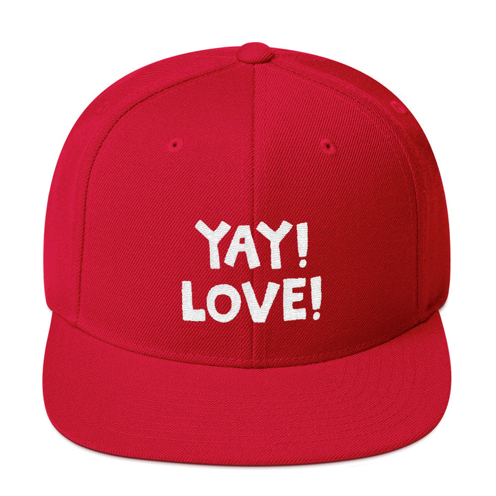 YAY! LOVE! Snapback Hat with bright white embroidered lettering