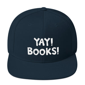 YAY! BOOKS! Snapback Hat with white embroidered lettering