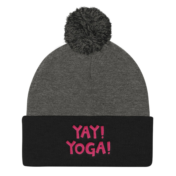YAY! YOGA! Pom Pom Knit Cap with hot pink embroidery