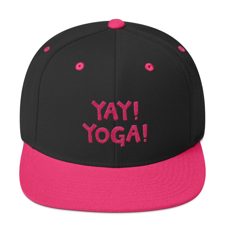 YAY! YOGA! Snapback Hat with hot pink embroidery