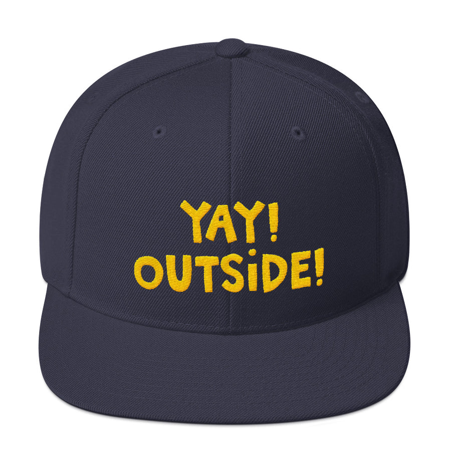 YAY! OUTSIDE! Snapback Hat with yellow embroidered lettering