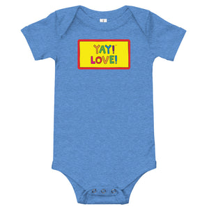 Multicolored YAY! LOVE! Infant bodysuit.