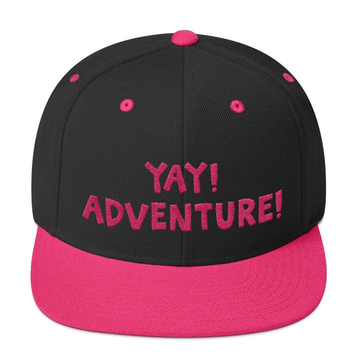 YAY! ADVENTURE! Snapback Hat with hot pink embroidered lettering