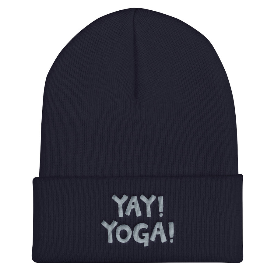 YAY! YOGA! Cuffed Beanie with silver embroidered lettering