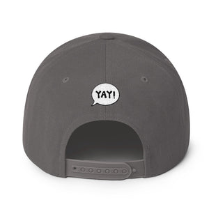 YAY! OUTSIDE! Snapback Hat with light green embroidered lettering