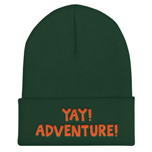 YAY! ADVENTURE! Cuffed Beanie with bright orange embroidered lettering