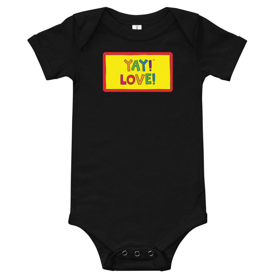 Multicolored YAY! LOVE! Infant bodysuit. Onesie