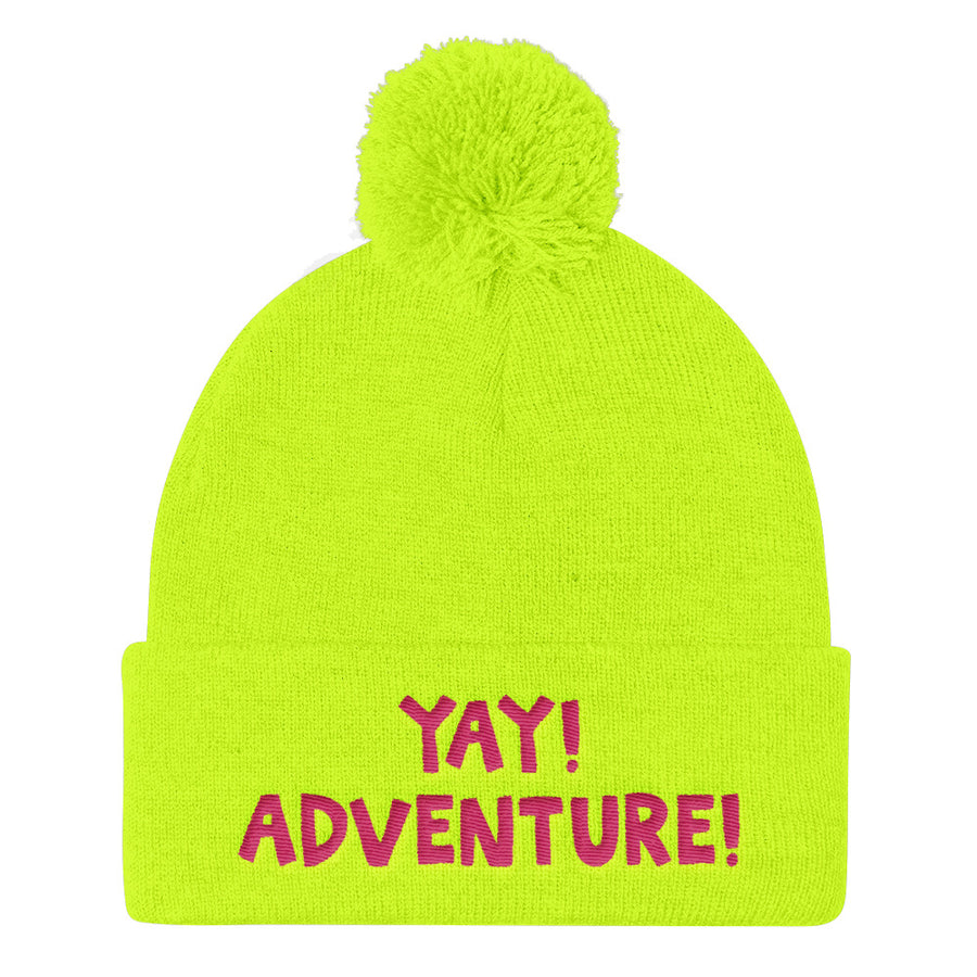 YAY! ADVENTURE! Pom Pom Knit Cap with hot pink embroidery