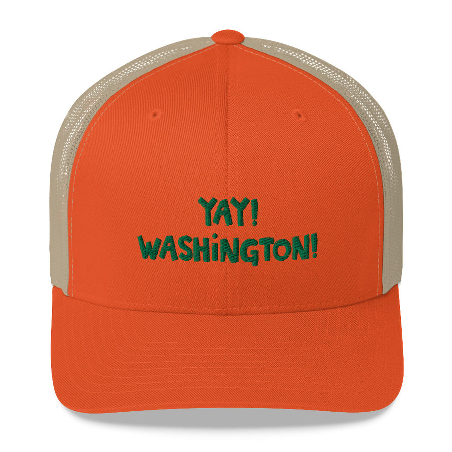 YAY! WASHINGTON! Mesh Back Trucker Cap with Kelly green embroidery