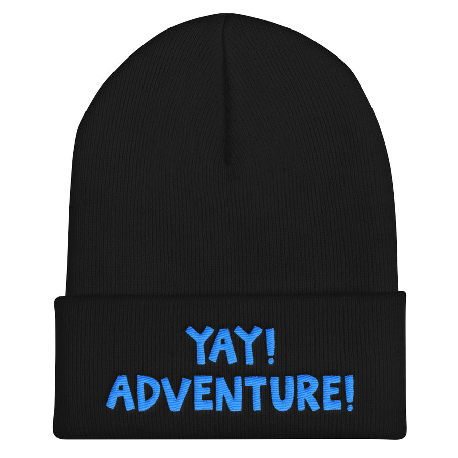 YAY! ADVENTURE! Cuffed Beanie with brilliant bright blue embroidered lettering