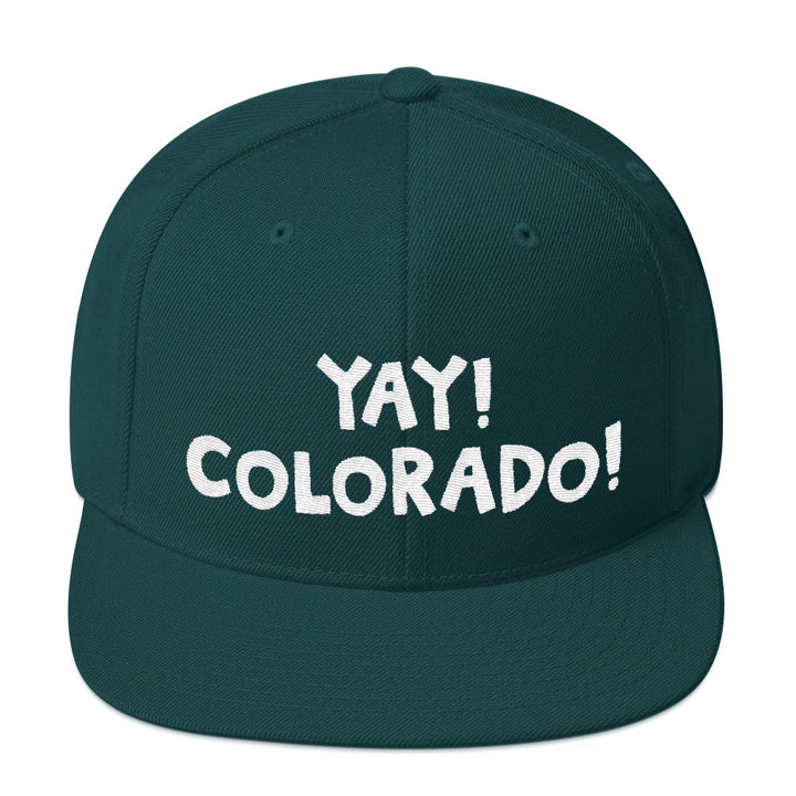 YAY! COLORADO! Snapback Hat with bright white embroidered lettering.