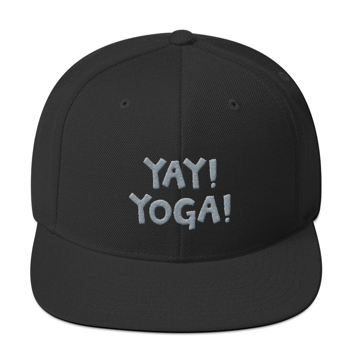 YAY! YOGA! Snapback Hat with silver embroidered lettering