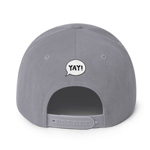 YAY! PEACE! Snapback Hat with brilliant blue embroidered lettering