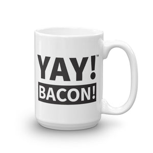 YAY! BACON! Mug in black