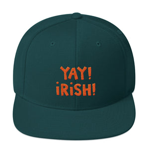 YAY! IRISH! Snapback Hat with bright orange embroidery