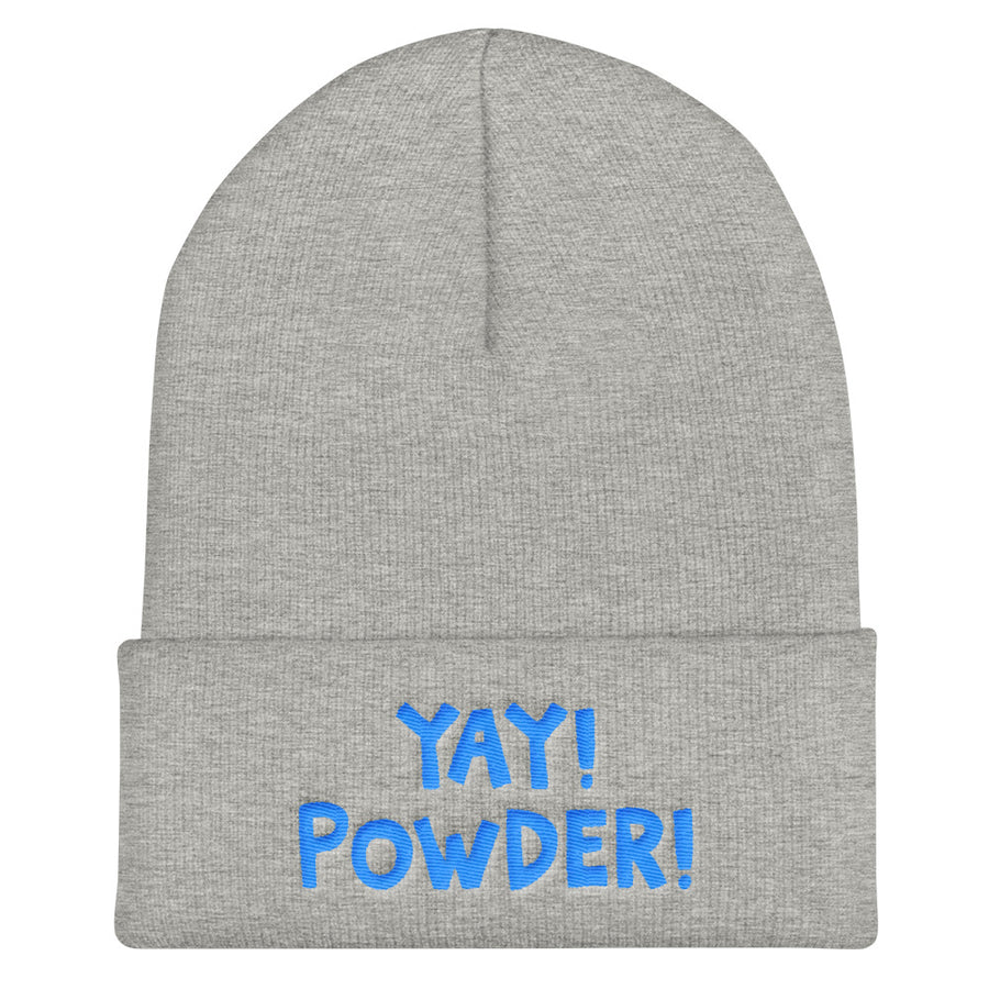 YAY! POWDER! Cuffed Beanie with brilliant bright blue embroidered lettering